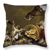 Cats Fighting In A Larder Throw Pillow