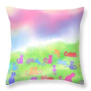 Cats In The Meadow Throw Pillow