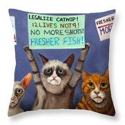 Cats On Strike Edit 2 Throw Pillow