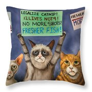 Cats On Strike Edit 3 Throw Pillow