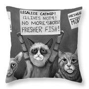 Cats On Strike Edit 4 Throw Pillow