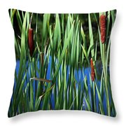 Cattail Pond In Pastel Throw Pillow