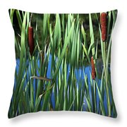 Cattail Pond In Watercolor Throw Pillow