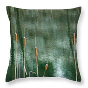 Cattails On Green Throw Pillow