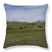 Cattle And Bible Verse Throw Pillow
