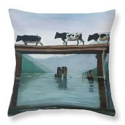 Cattle Crossing Throw Pillow