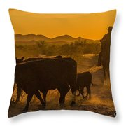 Cattle Drive 10 Throw Pillow
