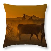Cattle Drive 16 Throw Pillow
