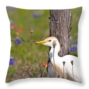 Cattle Egret At Fenceline Throw Pillow