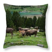 Cattle Grazing In The Pyrenees Throw Pillow