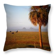 Cattle Grazing On Foggy Morning 1 Throw Pillow