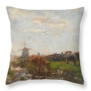 Cattle Grazing Throw Pillow by Willem Maris