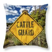 Cattle Guard Road Sign Throw Pillow