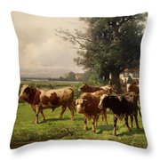 Cattle Heading To Pasture Throw Pillow