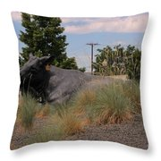 Cattle In Downtown Denver Throw Pillow