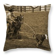 Cattle Roping In Colorado Throw Pillow