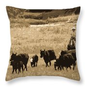 Cattle Round Up Sepia Throw Pillow