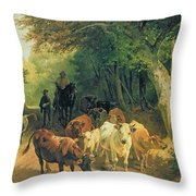 Cattle Watering In A Wooded Landscape Throw Pillow