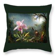 Cattleya Orchid And Three Brazilian Hummingbirds Throw Pillow