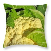 Cauliflower With A Visitor. Square Format Throw Pillow