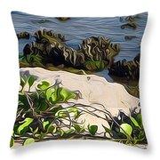 Causeway Shore Blues Throw Pillow