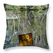 Caution Gators Throw Pillow