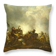 Cavalry Attacking Infantry Throw Pillow
