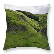 Cave Dale From Peveril Castle Throw Pillow