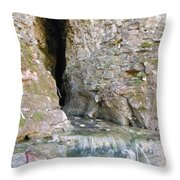Cave Entrance And Mossy Waterfall At Indian Run 1 Throw Pillow