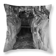 Cave Entrance Black And White Throw Pillow