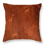 Cave Paintings By Bushmen, Damaraland Throw Pillow