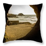 Cave View Of Rocks Near San Francisco Ca Cliff House Throw Pillow