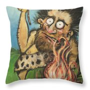 Caveman And Fire Throw Pillow