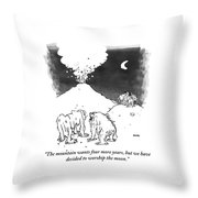 Cavemen Talk About Requests Of The Volcano Throw Pillow