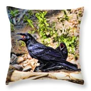 Caw And Friend Throw Pillow