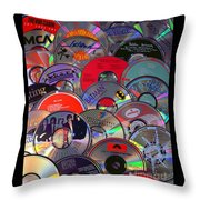 Cd Collage Throw Pillow