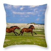 Cedar Island Wild Mustangs 51 Throw Pillow