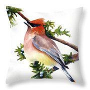 Cedar Waxwing Throw Pillow
