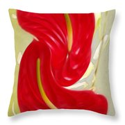 Celebration - Red Anthurium And White Orchids  Throw Pillow