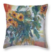 Sale - Sunflowers In Window Light - Original Impressionist - Large Oil Painting Throw Pillow