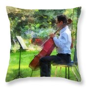 Cellist In The Garden Throw Pillow