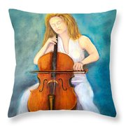 Cello Player Throw Pillow
