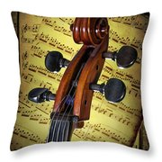 Cello Scroll With Sheet Music Throw Pillow