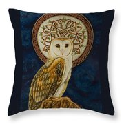 Celtic Barn Owl Throw Pillow
