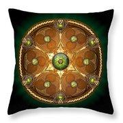 Celtic Chieftain Shield - Emerald Throw Pillow by Richard Barnes