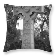 Celtic Cross In Black And White Throw Pillow