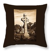 Celtic Cross In Sepia 1 Throw Pillow