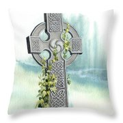 Celtic Cross With Ivy II Throw Pillow