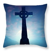 Celtic Cross With Moon Throw Pillow