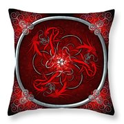 Celtic Dragons - Red Throw Pillow by Richard Barnes